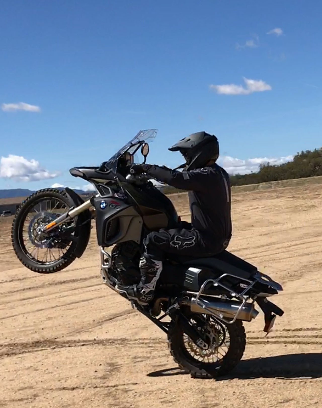 Motorcycle Wheelie on a BMW GS800