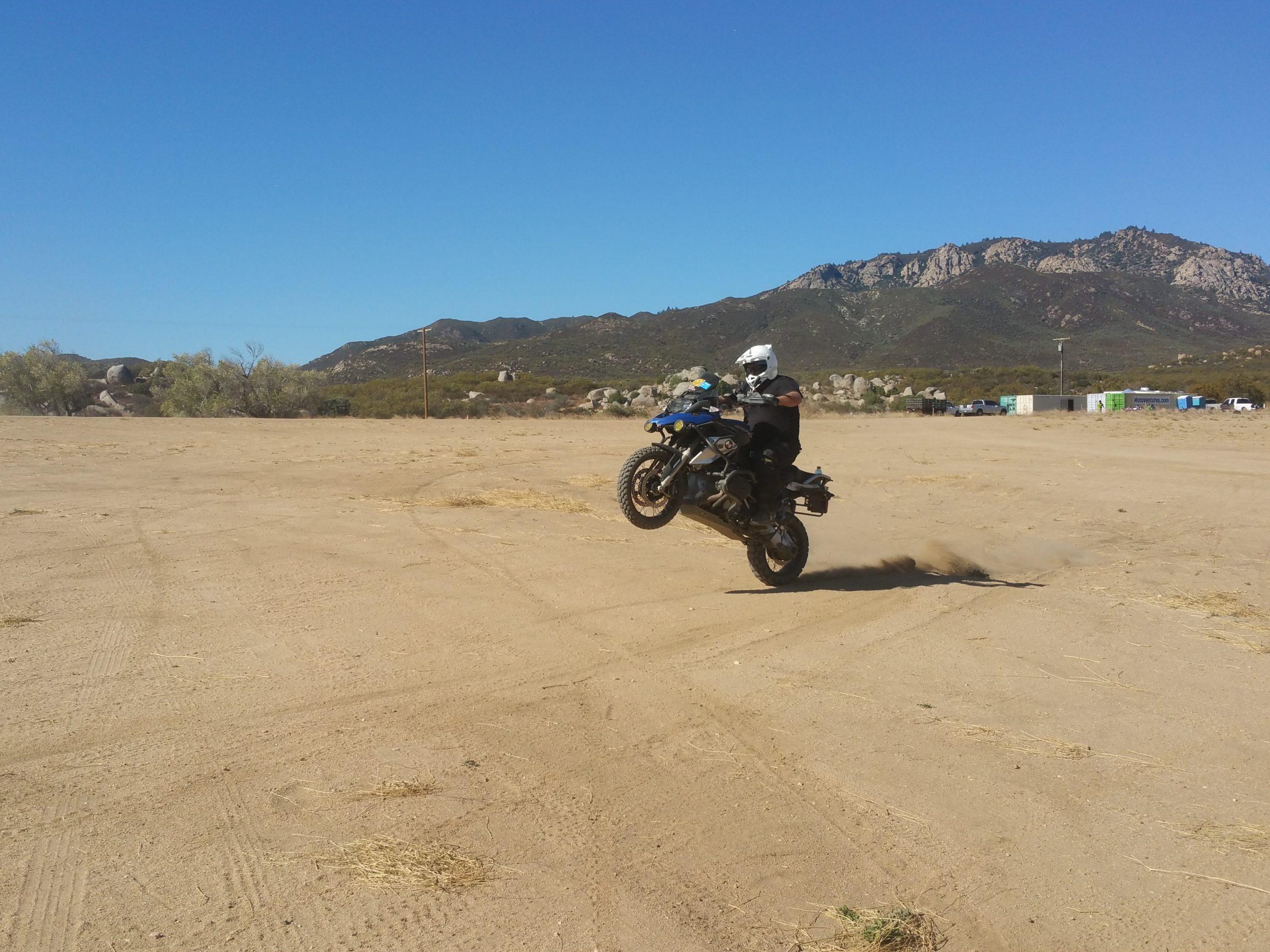 Chris Johns Demonstrates Motorcycle Wheelie on GS1200