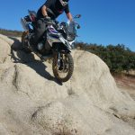 Chris Johns Tests Ground Clearance of BMW GS850 Motorcycle